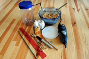 This is all you need for crafting your own recycled bird feeder